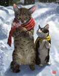 animal cat cat_focus commentary crossed_arms hands_together kitten looking_at_another matataku no_humans original own_hands_together personification revision scarf signature snow snowing standing surprised_cat_(matataku) yellow_sclera