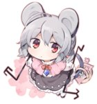 1girl ahoge akagashi_hagane animal_ears basket black_shoes black_skirt bow bowtie capelet chibi dowsing_rod eyebrows_visible_through_hair flower frilled_skirt frills grey_hair hair_between_eyes looking_at_viewer lowres mouse mouse_ears mouse_girl mouse_tail nazrin pink_flower red_bow red_bowtie red_eyes shirt shoes short_hair skirt solo tail touhou transparent_background white_legwear white_shirt