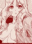1girl abazu-red breasts cleavage dated girls_und_panzer jacket kay_(girls_und_panzer) long_hair medium_breasts monochrome open_clothes open_jacket open_mouth red sketch solo tegaki tegaki_draw_and_tweet twitter_username