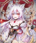 1girl ahoge animal_ears ara_han breasts cleavage collarbone detached_sleeves elsword energy eun_(elsword) facial_mark fangs fox_ears fox_tail gloves gpmr7574 highres shiva_(elsword) smile tail user