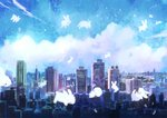 animal blue_sky blush_stickers building bunny city cityscape cloud commentary_request manino_(mofuritaionaka) no_humans original scenery signature sky skyline skyscraper u_u