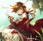 1girl artist_name atobesakunolove blurry brown_eyes brown_hair cape character_name commentary_request depth_of_field ear_piercing earrings freckles gloves highres jewelry looking_at_viewer overwatch piercing skirt solo tracer_(overwatch) v white_gloves