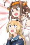 2girls :d ahoge blonde_hair blue_eyes brown_eyes brown_hair check_translation commentary_request enjaku_izuku gloves hair_bun hands_on_another's_shoulders highres jervis_(kantai_collection) kantai_collection kongou_(kantai_collection) long_hair multiple_girls open_mouth rectangular_mouth remodel_(kantai_collection) ribbon-trimmed_sleeves ribbon_trim sailor_collar seiyuu_connection smile touyama_nao translation_request v-shaped_eyebrows white_gloves