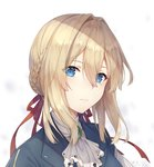 1girl ayuanlv bangs blonde_hair blue_eyes blue_jacket braid braided_bun brooch chinese_commentary close-up commentary dress face hair_between_eyes hair_intakes hair_ribbon highres jacket jewelry long_sleeves looking_at_viewer red_ribbon ribbon solo violet_evergarden violet_evergarden_(character)