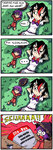 ... 2girls 4koma arms_behind_head black_eyes black_hair bow bowl bowtie comic commentary finnish horns kijin_seija lying minigirl multicolored_hair multiple_girls newspaper on_back profanity purple_eyes purple_hair setz size_difference streaked_hair sukuna_shinmyoumaru touhou translated