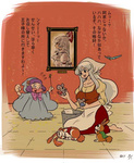 2girls apron barefoot bow breasts bucket bunny cinderella cloak dress flying_sweatdrops fujiwara_no_mokou head_scarf heart heart_in_mouth hieda_no_akyuu kamishirasawa_keine large_breasts long_dress long_hair mouse multiple_girls parody portrait_(object) profile purple_hair shirt silver_hair sitting sleeves_rolled_up tadashi touhou translated very_long_hair vest wand
