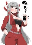 1girl absurdres bandeau bangs belt black_bandeau blush breast_pocket breasts cleavage collarbone commentary_request contrapposto cowboy_shot eyebrows_visible_through_hair eyelashes fujiwara_no_mokou grey_hair hair_spread_out half-closed_eyes half_updo hand_in_pocket highres holding jumpsuit large_breasts long_hair long_sleeves looking_at_viewer midriff narrow_waist navel object_request open_jumpsuit pocket raised_eyebrows red_eyes red_jumpsuit simple_background solo takeu taut_bandeau thick_eyebrows touhou translation_request unzipped very_long_hair white_background wide_hips