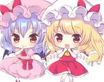 2girls :d ascot bat_wings blonde_hair blush bow brooch chibi closed_mouth collar collared_dress commentary_request dress eyebrows_visible_through_hair eyelashes feet_out_of_frame finger_to_mouth flandre_scarlet frilled_collar frilled_dress frills gem hand_to_own_mouth hat hat_bow jewelry kagome_f light_blue_hair light_smile looking_at_viewer mob_cap multiple_girls open_mouth petticoat pink_dress pink_hat puffy_short_sleeves puffy_sleeves red_bow red_footwear red_neckwear red_sash red_skirt red_vest remilia_scarlet sash shirt shoes short_hair short_sleeves side_ponytail simple_background skirt skirt_set smile socks touhou vest white_background white_hat white_legwear white_shirt wings yellow_eyes yellow_neckwear