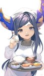 1girl apron arulumaya bangs black_hair brown_eyes egg eyebrows_visible_through_hair food granblue_fantasy harvin head_scarf holding holding_tray horns kappougi long_hair looking_at_viewer matsuki_tou mole mole_under_eye open_mouth pointy_ears simple_background smile solo swept_bangs tenugui tray very_long_hair white_apron white_background