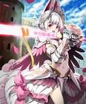 1girl armor armored_dress artist_request bikini_armor castle city cygames gauntlets glowing glowing_sword glowing_weapon helmet luminous_knight navel official_art open_mouth petals pink_eyes revealing_clothes ribbon shadowverse shingeki_no_bahamut shoulder_armor sword two-handed_sword weapon white_hair
