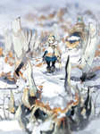 1girl akitsu_taira belt blonde_hair blue_eyes blurry boots cape depth_of_field dragon fantasy izumi_luna_(akitsu_taira) knee_boots original pantyhose snow solo