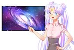 1girl :d bishoujo_senshi_sailor_moon blue_eyes double_bun dress_shirt galaxy glasses grey_skirt hand_on_hip highres holding kaminary long_hair open_mouth pink_shirt round_eyewear sailor_cosmos shirt short_sleeves silver_hair skirt smile solo standing twintails very_long_hair white_background