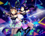 2girls absurdres animal_ears arms_up bangs bare_shoulders black_gloves blue_hair blush boots bunny_ears character_name choker commentary eyebrows_visible_through_hair fingerless_gloves floating_hair frills gloves grey_hair headset highres jumping long_hair looking_at_viewer love_live! love_live!_school_idol_festival love_live!_school_idol_project microphone minami_kotori multiple_girls one_side_up open_mouth outstretched_arms sd_pink skirt sleeveless smile sonoda_umi yellow_eyes