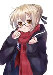 1girl absurdres artoria_pendragon_(all) blonde_hair blush braid commentary_request fate/grand_order fate_(series) glasses grey_ribbon hair_bun hair_ribbon hands_up highres long_sleeves looking_at_viewer mysterious_heroine_x_(alter) neckerchief orange_eyes parted_lips purple-framed_eyewear purple_coat red_neckwear red_scarf ribbon sailor_collar scarf school_uniform serafuku simple_background solo upper_body vanilla_(miotanntann) white_background white_sailor_collar