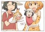 2girls animal_ears backpack bag bare_shoulders black_hair blonde_hair blush bow bowtie bucket_hat closed_eyes elbow_gloves eyebrows_visible_through_hair feathers gloves hand_puppet hat kaban_(kemono_friends) kasa_list kemono_friends multiple_girls open_mouth puppet serval_(kemono_friends) serval_ears serval_print shirt short_hair skirt t-shirt translated vest