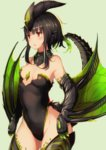 1girl astalos black_hair black_legwear breasts commentary_request dragon_girl dragon_horns dragon_tail dragon_wings highres horns monster_hunter personification red_eyes short_hair solo tail thighhighs tobi-mura wings