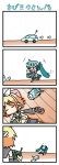 2girls 4koma >_< aqua_hair chibi chibi_miku closed_eyes comic controller handheld_game_console hatsune_miku kagamine_rin minami_(colorful_palette) multiple_girls playstation_portable remote_control silent_comic translated vocaloid