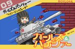 1girl :d bangs battle_city_(game) black_gloves black_hat blonde_hair blue_eyes brick_wall commentary copyright_name cover emblem famicom fang game_console game_cover girls_und_panzer gloves green_jumpsuit ground_vehicle hat helmet katyusha kitayama_miuki military military_vehicle motion_lines motor_vehicle open_mouth parody pointing pravda_(emblem) pravda_military_uniform short_hair smile solo t-34 tank translated v-shaped_eyebrows