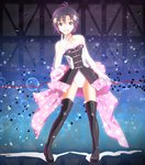 1girl :d antenna_hair back_bow black_footwear boots bow breasts brown_eyes brown_hair choker cleavage collarbone cosplay elbow_gloves full_body gloves hair_between_eyes hair_ornament idolmaster idolmaster_(classic) kikuchi_makoto leotard mawaru_penguindrum ns.x open_mouth pink_bow print_bow purple_hair red_ribbon ribbon shiny shiny_clothes short_hair small_breasts smile solo standing star star_hair_ornament star_print strapless strapless_leotard takakura_himari takakura_himari_(cosplay) thigh_boots thighhighs two-tone_background white_gloves white_leotard