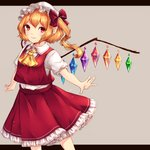 1girl absurdres ascot blonde_hair bow chiyu_(kumataro0x0) commentary_request crystal feet_out_of_frame flandre_scarlet grey_background hair_bow hat highres letterboxed long_hair looking_at_viewer mob_cap one_side_up outside_border petticoat pointy_ears puffy_short_sleeves puffy_sleeves red_bow red_eyes red_skirt red_vest shirt short_sleeves sidelocks simple_background skirt skirt_set smile solo standing touhou vest white_headwear white_shirt wings yellow_neckwear