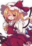 1girl ascot bangs blonde_hair blush bow chestnut_mouth commentary_request crystal eyebrows_visible_through_hair flandre_scarlet hair_between_eyes hands_up hat hat_bow highres long_hair long_sleeves looking_at_viewer mob_cap muuran one_eye_closed one_side_up open_mouth red_bow red_eyes red_skirt red_vest shirt signature simple_background skirt skirt_set sleeves_past_wrists solo touhou very_long_hair vest white_background white_hat white_shirt wings yellow_neckwear