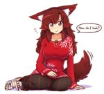 1girl >:) alternate_costume animal_ear_fluff animal_ears arm_support bamboo_print black_skirt blush breasts brooch brown_hair collarbone commentary english eyebrows_visible_through_hair flying_sweatdrops full_body hand_on_lap imaizumi_kagerou jewelry large_breasts long_hair long_sleeves looking_at_viewer medium_breasts red_eyes red_hair sandals shadow simple_background sitting skirt sleeves_past_wrists smile solo speech_bubble tail tail_wagging touhou traditional_clothes v-shaped_eyebrows wavy_hair white_background wolf_ears wolf_tail wool_(miwol) yokozuwari
