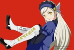 1girl absurdres black_footwear hairband highres lavenza layered_clothing long_hair looking_at_viewer megat0nraid parody persona persona_5 persona_5_the_animation puffy_short_sleeves puffy_sleeves red_background short_sleeves simple_background smile spats_(footwear) spoilers twitter_username yellow_eyes