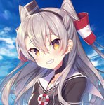 1girl amatsukaze_(kantai_collection) blue_sky brown_dress brown_eyes cloud dress grey_neckwear grin hair_tubes hat kantai_collection lifebuoy long_hair looking_at_viewer mini_hat neckerchief sailor_collar sailor_dress short_dress silver_hair sky smile solo tahya two_side_up upper_body white_sailor_collar windsock