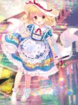 1girl :d abstract_background amo artist_name bangs blonde_hair blue_dress blush bobby_socks bow collarbone commentary dress eyebrows_visible_through_hair hair_between_eyes hat head_tilt highres holding kana_anaberal looking_at_viewer open_mouth puffy_short_sleeves puffy_sleeves road_sign short_sleeves sign skirt_hold smile socks solo sun_hat touhou touhou_(pc-98) white_bow white_headwear white_legwear yellow_eyes
