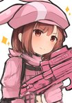 1girl >:) animal_ears animal_hat bangs blush brown_eyes brown_hair bullpup bunny_ears bunny_hat closed_mouth commentary_request eyebrows_visible_through_hair gloves gun hat holding holding_gun holding_weapon jacket llenn_(sao) long_sleeves looking_at_viewer noa_(letizia) p-chan_(p-90) p90 pink pink_gloves pink_hat pink_jacket simple_background smile solo sparkle submachine_gun sword_art_online sword_art_online_alternative:_gun_gale_online v-shaped_eyebrows weapon white_background