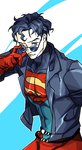1boy black_hair blue_eyes bodysuit dc_comics jacket nimby solo spandex sunglasses superboy young_justice