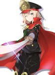 100% 1girl ;) absurdres black_hat black_jacket black_pants cape cosplay eyebrows_visible_through_hair fate/grand_order fate_(series) gloves green_eyes grey_gloves hair_between_eyes hat highres holding holding_sword holding_weapon jacket katana military military_uniform oda_nobunaga_(fate) oda_nobunaga_(fate)_(cosplay) okita_souji_(fate) one_eye_closed pants red_cape simple_background smile solo sparkle standing sword uniform weapon white_background