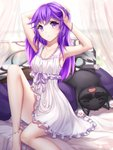 1girl anklet armpits barefoot bed blurry blurry_background breasts canopy_bed cat cleavage collarbone commission curtains dress eyebrows_visible_through_hair frilled_dress frills gigamessy hair_between_eyes hands_on_head jewelry lingerie long_hair looking_at_viewer negligee original parted_lips purple_eyes purple_hair purple_pillow ribbon short_dress sitting sleeveless sleeveless_dress small_breasts solo transparent underwear white_dress white_ribbon