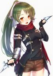 1girl :d absurdres bangs black_gloves black_jacket bow breasts brown_shorts cowboy_shot eyebrows_visible_through_hair fang fingerless_gloves floating_hair gabriel_(monster_strike) gloves green_hair hair_bow hair_ornament high_ponytail highres holding holding_knife jacket jun_(540000000000000) knife long_hair long_sleeves looking_at_viewer medium_breasts monster_strike open_mouth orange_eyes parted_bangs ponytail red_scarf scarf shiny shiny_hair short_shorts shorts simple_background smile solo standing star star_hair_ornament white_background white_bow