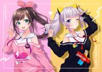 2girls :d a.i._channel aqua_eyes arm_up arms_up badge black_sweater brown_hair character_name clothes_writing earrings grin hair_ornament hair_ribbon hand_to_forehead haruyuki_14 heart heart_earrings heart_print hood hood_down jewelry kaguya_luna kizuna_ai lavender_hair long_sleeves looking_at_viewer multiple_girls off_shoulder one_eye_closed open_hand open_mouth pink_background pink_sweater ponytail ribbon short_hair smile standing sweater teeth the_moon_studio two-tone_background two_side_up upper_body upper_teeth v virtual_youtuber white_hoodie yellow_background