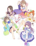 5girls arai_minamo artist_request bag bare_shoulders barefoot belt black_hair black_shirt blue_bow blue_dress blue_eyes blue_hairband blue_neckwear blue_pillow blush body_blush book book_on_lap bookmark bow bowtie bracelet breasts brown_belt brown_earrings brown_eyes camera cat cat_pillow cup dress dress_bow drinking_glass earrings eating enishi_(himote_house) eyebrows_visible_through_hair eyes_visible_through_hair flower food food_on_face frilled_dress frills game_console gradient_eyes green_eyes green_hairband green_hoodie green_jacket green_legwear green_pillow grey_eyes grey_shorts hair_bun hair_flower hair_ornament hair_over_shoulder hairband hand_on_own_cheek handbag himote_house himote_kinami himote_kokoro himote_tokiyo holding holding_camera holding_controller holding_drinking_glass holding_mirror hongou_tae hood hooded_jacket jacket jewelry key_visual knees_together_feet_apart large_breasts layered_dress legs_up light_brown_hair long_hair looking_at_viewer low_twintails lying map medium_breasts mole mole_under_eye multicolored multicolored_eyes multicolored_hair multiple_girls necklace off_shoulder official_art on_back on_stomach open_mouth orange_eyes orange_hair orange_juice orange_neckwear orange_skirt pants pantyhose parted_lips pink_dress polka_dot_pillow print_dress print_hairband print_legwear puffy_short_sleeves puffy_sleeves purple_dress purple_hair purple_pants shiny shiny_hair shirt short_hair short_shorts short_sleeves short_twintails shorts sitting skirt smile socks streaked_hair striped striped_pillow striped_shirt thick_eyebrows tongue transparent_background twintails vertical-striped_pillow vertical-striped_shorts vertical_stripes white_cat white_frills white_legwear white_shirt yellow_eyes yokozuwari