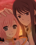 1boy 1girl ak0130 black_hair dated estellise_sidos_heurassein grey_eyes hand_on_another's_head hands_together long_hair looking_at_viewer own_hands_together pink_hair smile tales_of_(series) tales_of_vesperia yuri_lowell