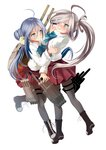 2girls ahoge asashimo_(kantai_collection) asymmetrical_bangs bangs blush boots brown_footwear clothes_grab collared_shirt cross-laced_footwear grey_eyes grey_hair grey_legwear hair_over_one_eye hug kantai_collection kiyoshimo_(kantai_collection) lace-up_boots long_hair low_twintails machinery miyabi_(miyabi) multicolored_hair multiple_girls pantyhose pleated_skirt ponytail purple_skirt shirt silver_hair simple_background skirt twintails two-tone_hair very_long_hair white_background white_shirt