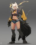 1girl absurdres animal_ears belt black_sclera blazblue breasts bullet_(blazblue) claws collar denim denim_shorts dog_ears dog_paws dog_tail fangs full_body fur fusion grey_background grin hellhound highres less monster_girl_encyclopedia navel paws scar shadow short_shorts shorts signature smile solo spiked_collar spikes standing tail vest white_hair yellow_eyes