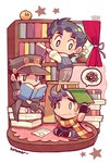 3boys artist_name bird black_hair book book_on_head chibi chick family flowerpot hat jojo_no_kimyou_na_bouken jonathan_joestar joseph_joestar_(young) kotorai kuujou_joutarou library multiple_boys object_on_head reading spoken_squiggle squiggle