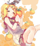 1girl alternate_costume blonde_hair bracelet chikei closed_eyes food fruit hair_ornament hair_ribbon hairclip jewelry kagamine_rin orange ribbon short_hair sleeping sleeveless smile solo vocaloid