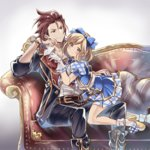 1girl alternate_costume blonde_hair bow couch djeeta_(granblue_fantasy) gloves granblue_fantasy hair_bow hairband hano_(keepon_haruka) percival_(granblue_fantasy) short_hair skirt superstar_(granblue_fantasy) watch