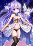 1girl :o absurdres ahoge alicorn animal azur_lane bangs bare_shoulders black_legwear black_panties blue_flower blue_rose bluebird_(bluebird90) blush breasts cannon collarbone commentary_request cosplay crystal dress eyebrows_visible_through_hair flower flying hair_between_eyes hair_ribbon head_tilt highres long_hair looking_at_viewer navel one_side_up oversized_clothes panties parted_lips purple_eyes purple_hair ribbon rose side_bun skirt_hold sleeveless sleeveless_dress small_breasts solo sparkle thighhighs turret underwear unicorn_(azur_lane) very_long_hair victorious_(azur_lane) victorious_(azur_lane)_(cosplay) white_dress white_ribbon