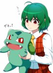 1girl ahoge ascot bulbasaur carrying fangs gen_1_pokemon green_hair highres kazami_yuuka long_sleeves mattari_yufi open_clothes open_vest pokemon pokemon_(creature) red_eyes shirt skirt smile touhou vest