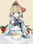 1girl absurdres apple black_vest blonde_hair bow bowl branch chinese_commentary chopsticks cloud commentary_request crescent_moon eating food fruit hair_bow highres holding holding_chopsticks leaf long_sleeves moon rain red_bow rumia shirt short_hair simple_background solo surreal tassel touhou vest white_shirt zhixie_jiaobu