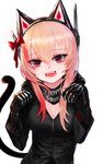 1girl alternate_headgear bangs black_jacket breasts cat_ear_headphones cat_tail cleavage commentary_request dokomon eyebrows_visible_through_hair eyes_visible_through_hair fangs girls_frontline hair_between_eyes hair_ornament headgear headphones highres hood hooded_jacket jacket korean_commentary m4_sopmod_ii_(girls_frontline) multicolored_hair open_mouth paw_pose pink_hair prosthesis prosthetic_arm red_eyes red_hair simple_background solo star star-shaped_pupils streaked_hair symbol-shaped_pupils tail white_background zipper