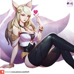 1girl absurdres ahri animal_ears arm_support artist_name bangle black_legwear blonde_hair bracelet breasts choker cleavage eyeliner facial_mark fingernails fox_ears fox_girl fox_tail heart highres idol jewelry k/da_(league_of_legends) k/da_ahri large_breasts league_of_legends light_smile lips long_fingernails long_hair looking_at_viewer makeup multiple_tails nail_polish pink_nails purple_tail red_lips simple_background sitting solo tail thighhighs watermark whisker_markings white_background xili_fish yellow_eyes