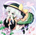 1girl :d bangs black_headwear bow bright_pupils eyeball eyebrows_visible_through_hair floral_print flower frilled_skirt frilled_sleeves frills green_eyes green_skirt hair_between_eyes hands_up hat hat_bow heart heart_of_string komeiji_koishi leaf long_sleeves open_mouth orange_shirt petals pink_flower rose_print shirt short_hair silver_hair skirt smile solo touhou white_pupils wide_sleeves yellow_bow yoshishi_(yosisitoho)
