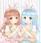 2girls :d animal_ears bangs basket blue_dress blue_flower blue_nails blunt_bangs blush bow brown_eyes brown_hair bunny_ears bunny_girl bunny_tail caramel_(caramelmilk) center_frills collarbone commentary dress easter easter_egg egg english_commentary eyebrows_visible_through_hair fingernails flower frills green_eyes green_flower hair_bow hair_flower hair_ornament hands_up happy_easter holding holding_egg multiple_girls nail_polish open_mouth original pink_bow pink_dress pink_flower pink_nails puffy_short_sleeves puffy_sleeves short_sleeves smile striped striped_background tail vertical-striped_background vertical-striped_dress vertical_stripes white_flower yellow_bow