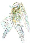 1girl aiming color_trace colored_pencil_(medium) commentary_request elbow_gloves frame_arms_girl gloves goggles goggles_on_head gourai gun headgear highres knife kumichou_(ef65-1118-ef81-95) mecha_musume panties rifle shield short_hair shoulder_cannon sketch sniper_rifle solo striped striped_panties thighhighs traditional_media underwear weapon white_background